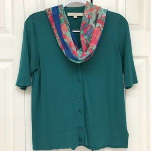 Loft L women's short-sleeved button-down sweater
